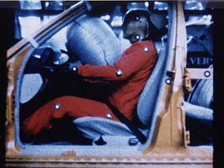 Front airbag deployed during crash test